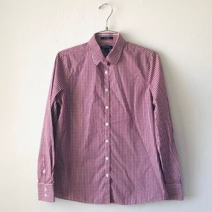 Lands' End maroon and white button down size 6